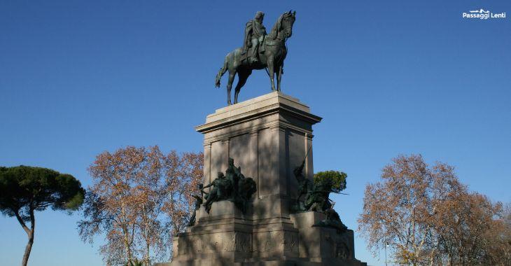 Il monumento equestre dedicato a Giuseppe Garibaldi al Gianicolo