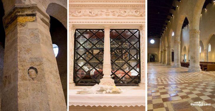 Interni della Basilica di Collemaggio: al centro la tomba di Celestino V