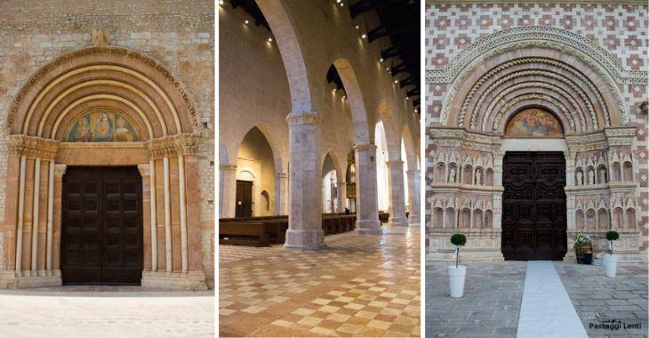 A sinistra la Porta Santa, a destra il portale d'ingresso, al centro la navata interna