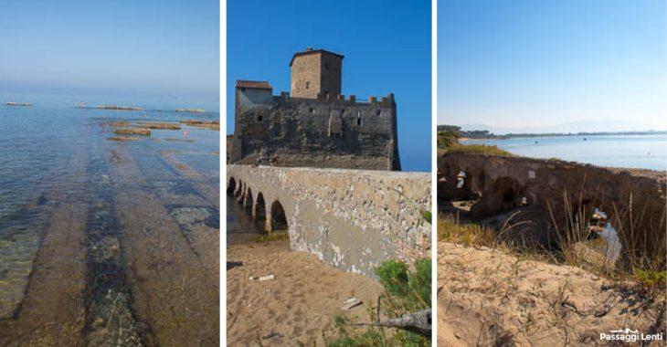 Il mare di Torre Astura e le antiche rovine