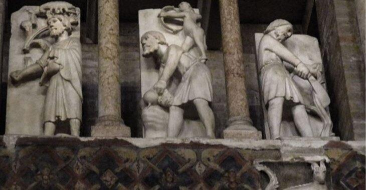 """""""Ciclo dei mesi"""" di Benedetto Antelami, particolare."""