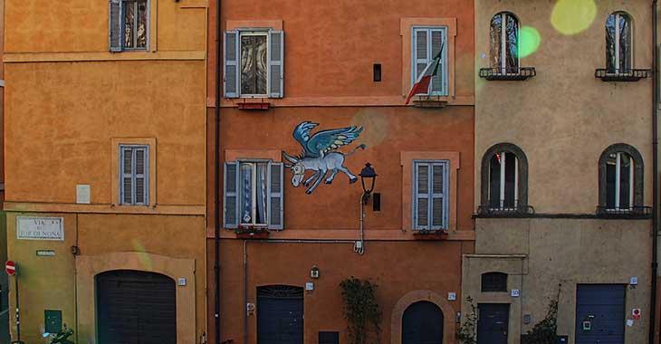 """""""L'asino che vola"""" a Via Tor di Nona"""