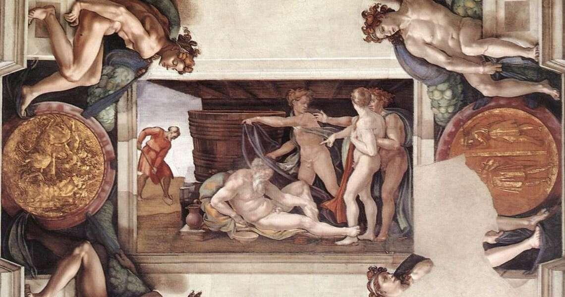 """Michelangelo Buonarroti, """"L'ebbrezza di Noè"""", 1508-10, affresco, Cappella Sistina, Musei Vaticani"""