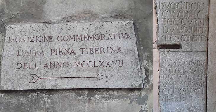 La più antica iscrizione commemorativa della piena del Tevere, in Via Arco dei Banchi a Roma