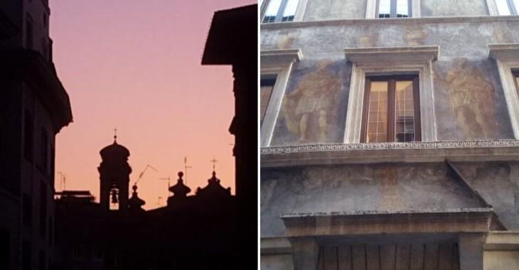 Il campanile dei Santi Celso e Giuliano e la facciata di Palazzo Milesi