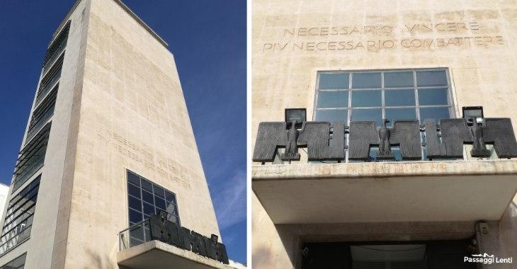 La facciata dell'ex GIL di Trastevere