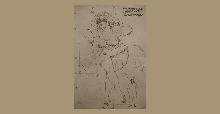 Fellini: La città delle donne. Disegno originale della mongolfiera di Giovanni Gianese