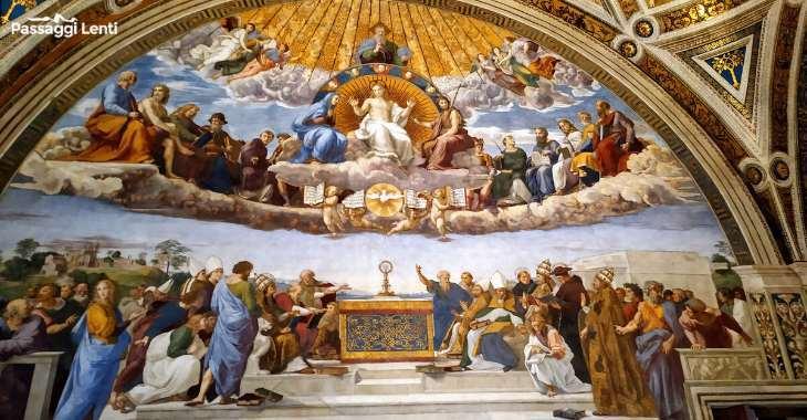 """Raffaello Sanzio, """"La disputa del Sacramento"""" (1509), Musei Vaticani"""