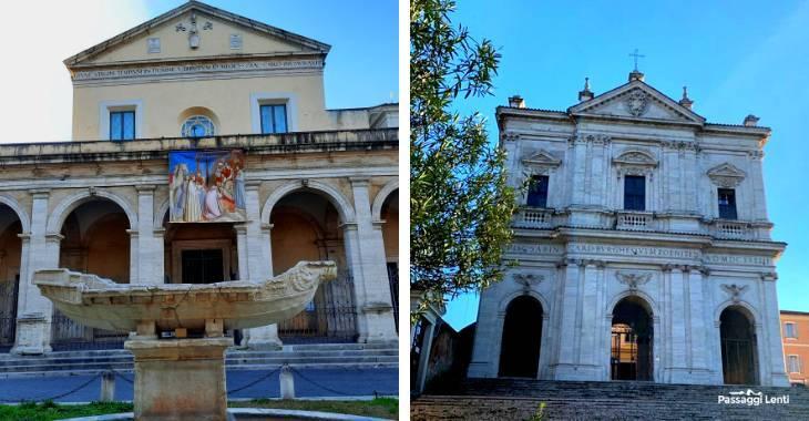 La fontana della Navicella e la chiesa di San Gregorio a Roma