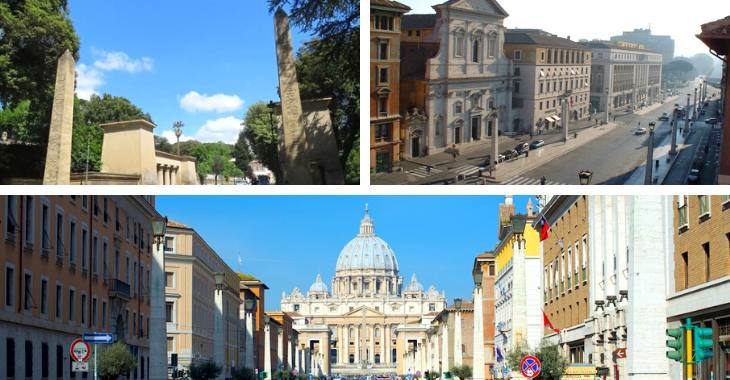 Gli obelischi di Villa Borghese e di Via della Conciliazione