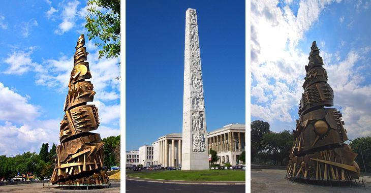 L'obelisco Marconi e l'obelisco Novecento